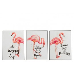 PANCARTE FLAMANT ROSE METAL...